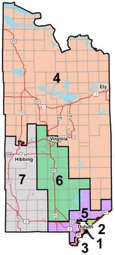 County Commissioner District map